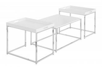 3SET odkládací stolek ELEMENTS BÍLÝ