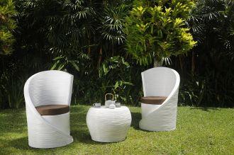 Luxusní zahradní SET TWIST WHTE přírodní ratan