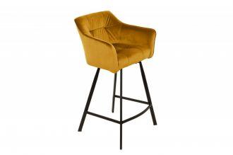 Barová židle LOFT 100 CM tmavě žlutá samet