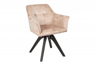 Jídelní židle LOFT béžová samet otočná