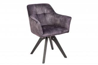 Jídelní židle LOFT tmavě šedá samet otočná