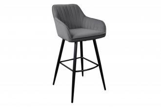 Barová židle TURIN šedá samet