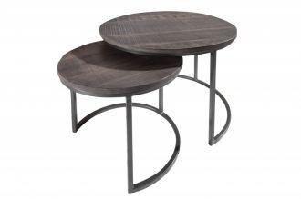 2SET odkládací-konferenční stolek ELEMENTS 55 CM šedý masiv mango