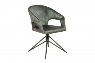 Židle ETERNITY tmavě zelená samet otočná