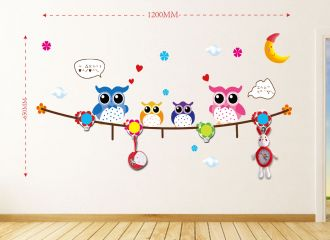 Samolepka na zeď OWL FAMILY 120x65 CM