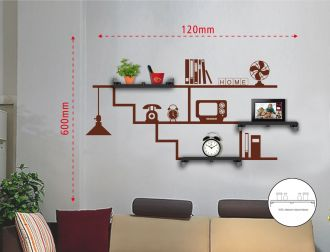 Samolepka na zeď HOME 120x60 CM s poličkami