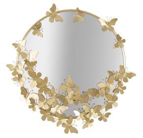 Kulaté zrcadlo BUTTERFLIES GOLD 75 CM