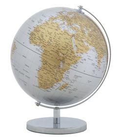 Stolní globus 25 CM stříbrný