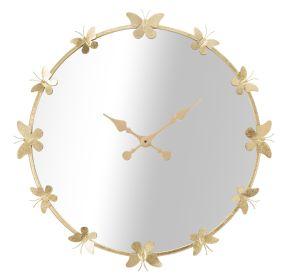 Nástěnné hodiny se zrcadlem GOLD BUTTERFLY 75 CM