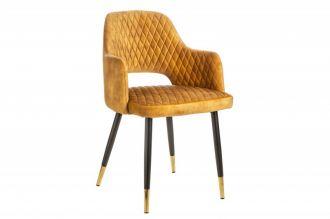 Jídelní židle PARIS tmavě žlutá samet