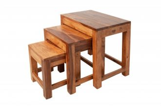 3SET odkládací stolek MONSOON 45 CM masiv sheesham