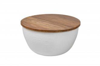 Konferenční stolek ORIENT STORAGE 60 bílý masiv mango