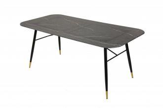 Skleněný jídelní stůl PARIS 180 CM černý mramorový vzhled