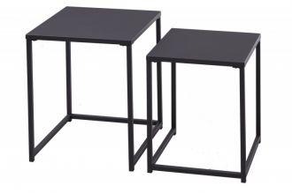 2SET odkládací stolek DURA STEEL 46/41 CM černý kov