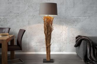 Stojací lampa EUPHORIA 175 CM hnědá naplavené dříví