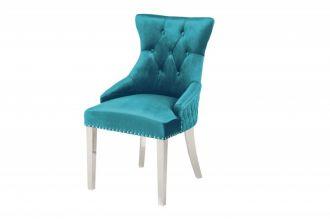 Zámecká židle CASTLE S RUKOJETÍ tyrkysová samet