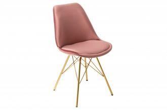 Jídelní židle SCANDINAVIA RETRO tmavě růžová / zlatá