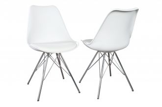 Jídelní židle SCANDINAVIA RETRO bílá / stříbrná