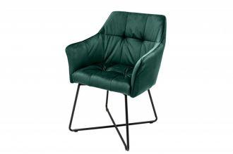 Jídelní židle LOFT tmavě zelené samet