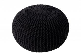 Pletený puff LEEDS 50 BLACK
