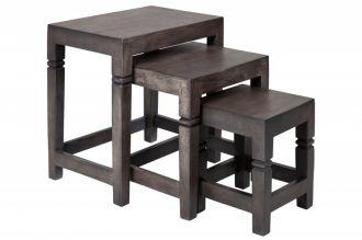 3SET odkládací stolek FINCA GREY 45 CM masiv akácie