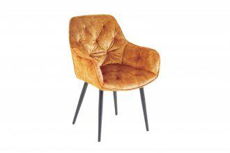 Židle MALANO tmavě žlutá samet