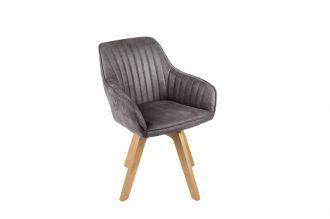 Jídelní židle LIVORNO tmavě šedá samet otočná
