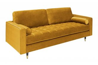 Luxusní pohovka COZY VELVET 225 CM tmavě žlutá samet