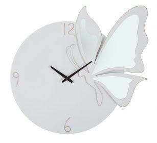 Nástěnné hodiny se zrcadlem BIG BUTTERFLY 66 CM bílé