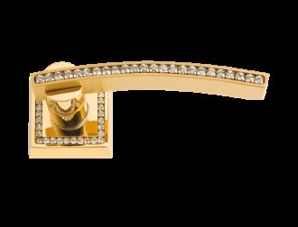 luxusní rozetová klika MIMOZA GOLD s potahem 24 kt zlata, čiré krystaly