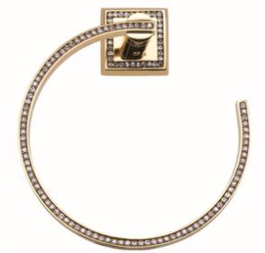 luxusní držák na ručník MIMOZA GOLD s potahem 24 kt zlata, černé krystaly