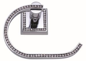 luxusní držák na ručník oblouk MIMOZA SILVER, čiré krystaly