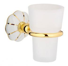 luxusní držák na kartáčky NISA GOLD s potahem 24 kt zlata