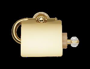 luxusní držák na toaletní papír ALMARA GOLD s potahem 24 kt zlata, krystaly