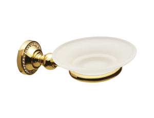 luxusní miska na mýdlo ALMARA GOLD s potahem 24 kt zlata, krystaly
