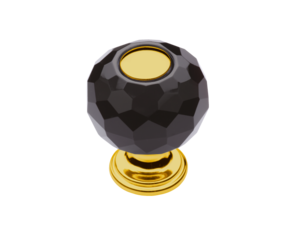 luxusní knopka 40mm BEBEK GOLD s potahem 24 kt zlata, černý krystal