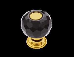 luxusní knopka 30mm BEBEK GOLD s potahem 24 kt zlata, černý krystal
