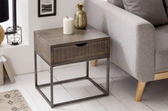 Noční/odkládací stolek IRON CRAFT 45 CM šedý masiv mango
